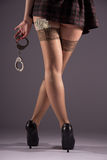 Girl in stockings with handcuffs Royalty Free Stock Photo