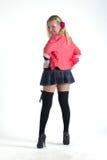 Girl in in stockings. Girl in stockings and short skirt Royalty Free Stock Image