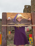 Girl in stocks Royalty Free Stock Photography