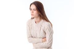 Girl with stomach ache Stock Photos