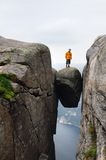 Girl on stone. The got stuck stone in a crevice of rocks of Norway Stock Images
