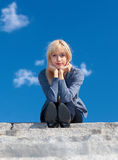 Girl on the stone steps Stock Images