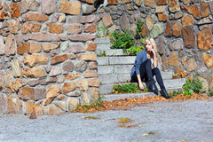 Girl on the stone steps Royalty Free Stock Images