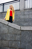 Girl on the stone steps Royalty Free Stock Image