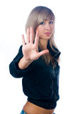 Girl with stop gesture Stock Images