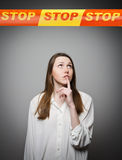 Girl and STOP line. Stock Photography