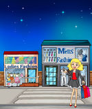 Girl and stores. Illustration of a girl and fashion stores Stock Photos