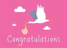 Girl / Stork Birth Illustration Stock Photos