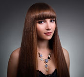 Girl with straight hair Royalty Free Stock Photos