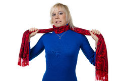 Girl strangling herself with scarf Royalty Free Stock Image