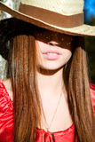 Girl in straw hat Royalty Free Stock Image