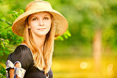 Girl in straw hat Royalty Free Stock Photos