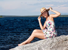 Girl in a straw hat Royalty Free Stock Photos