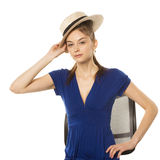 Girl with straw hat Stock Image