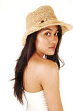 Girl with straw hat. Stock Photos