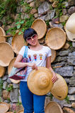 Girl and straw hat Royalty Free Stock Photos