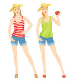 Girl in straw hat hold tomato in her hand. Vector illustration of girl in clothes for summer  on white background. Blue shorts of jeans fabric. Red striped shirt Royalty Free Stock Photography