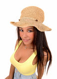 Girl with straw hat. Royalty Free Stock Photos