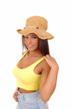 Girl with straw hat. Royalty Free Stock Image