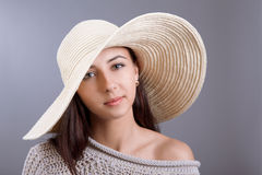 Girl in straw hat Royalty Free Stock Photography