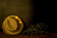 Girl straw hat spring background Royalty Free Stock Photo
