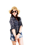 Girl with straw hat and sunglasses. Royalty Free Stock Images