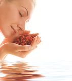 Girl with strawberries. Picture of a Beautiful girl with strawberries in rendered water Stock Photography