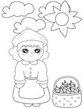 Girl with strawberries under the sun coloring page Royalty Free Stock Photos