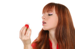 Girl with strawberry Royalty Free Stock Photography