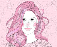 Girl on strawberry background. Vector girl on strawberry background, strawberry blonde, pink hair royalty free illustration