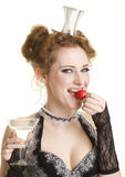 Girl with strawberry and glass of vermuth/ Royalty Free Stock Image