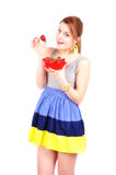 Girl with strawberry Stock Images
