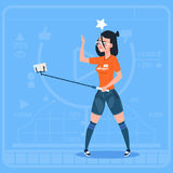 Girl Stream Modern Video Blog With Cell Smart Phone Vlog Creator Channel. Flat Vector Illustration vector illustration
