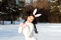 Girl on the street. Bunny girl on the street Royalty Free Stock Photo