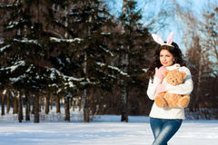 Girl on the street. Bunny girl on the street Royalty Free Stock Photography
