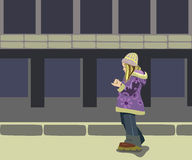 Girl in street. Girl goes one to down street royalty free illustration