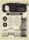 Girl and street cafe Stock Photos