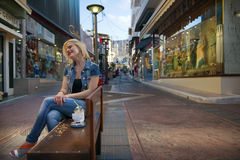 Girl, street and coffee Stock Image