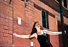 Girl on the street dancing Royalty Free Stock Photography