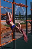 Girl on the street workout Royalty Free Stock Image