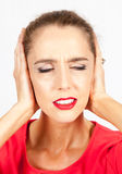 Girl with stress Royalty Free Stock Photos