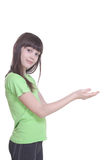 The girl with the stretched palms Royalty Free Stock Photo