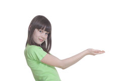 The girl with the stretched palms Stock Photo