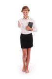 Girl stretches a hand holding tablet pc Royalty Free Stock Image