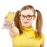 Girl stretches phone with yellow display Royalty Free Stock Photography