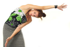 Girl stretching arms isolated Royalty Free Stock Image
