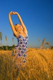 Girl stretching in the field stock images