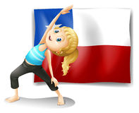 A girl stretching in front of a flag of chile Royalty Free Stock Image