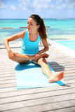 Girl stretching outside Stock Image