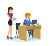 Girl in strict clothing, shows to colleague project on monitor. Group of office workers. Young, beautiful girl in strict clothing, working at computer in the Stock Image